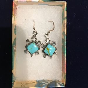 sterling silver and turquoise turtle earrings